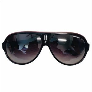 Carrera Black Red And White Striped Sunglasses
